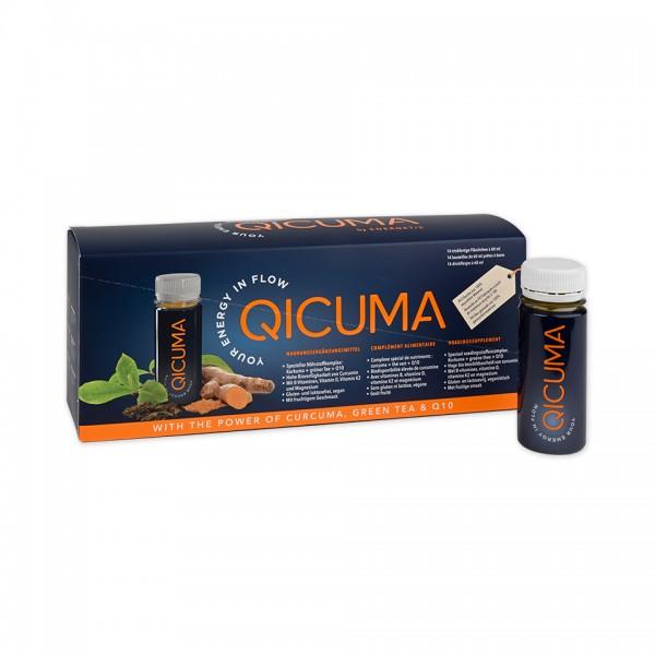 2-ugers-pakke QICUMA - Kosttilskud, der indeholder planteekstrakter, cholin, Q10, zink, magnesium og vitaminer, 14 x 60 ml