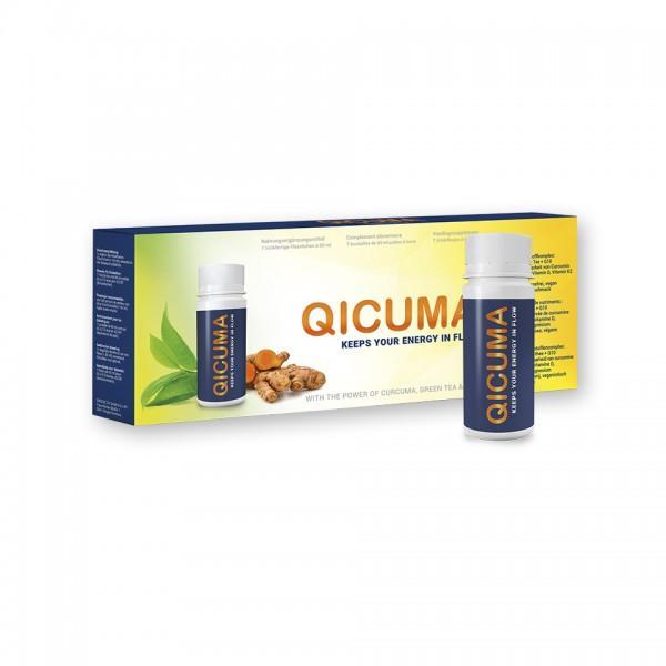 QICUMA - Complément alimentaire avec extraits de plantes, choline, Q10, zinc, magnésium et vitamines, 7 x 60 ml (Package hebdomadaire)